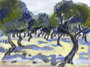 Study of olive grove, Kaditah, northern Israel - gouache on paper