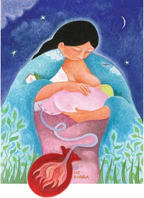 """Lotus Birth"" was originally commissioned by Mothering Magazine.  Available as a poster or card."