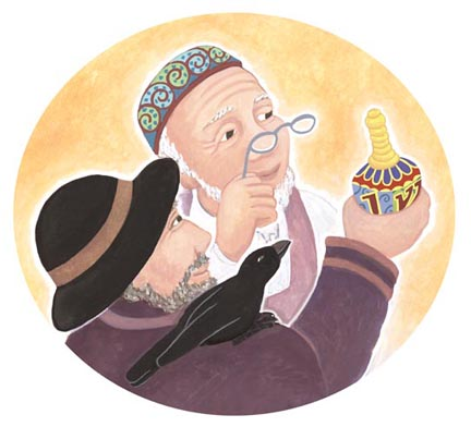 Opening illustration from THE DREIDEL THAT WOULDN'T SPIN, written by Martha Seif Simpson, Wisdom Tales Press