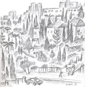 View from Old City Ramparts - pencil drawing 72dpi