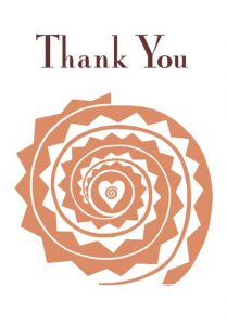"""Thank You Spiral"" greeting cards are 5""x7"", blank on the inside. $3.50 each or 6 for $18 – shipping included!"