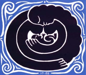 Mother & Child – linoleum block print © Durga Yael Bernhard